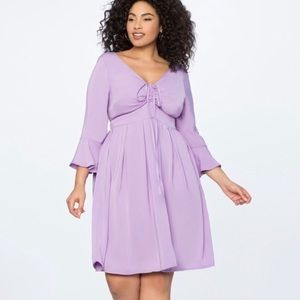 Eloquii Plus Size Tie Front Flare Sleeve Dress